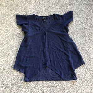 By & By Sheer Blue Split Blouse Small